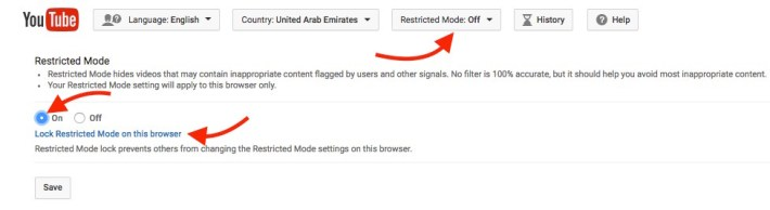Lock Restriction mode on YouTube