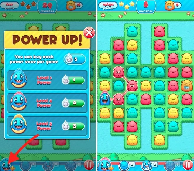 Power Ups in Monster Mania game