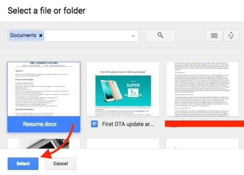 Select files from Drive