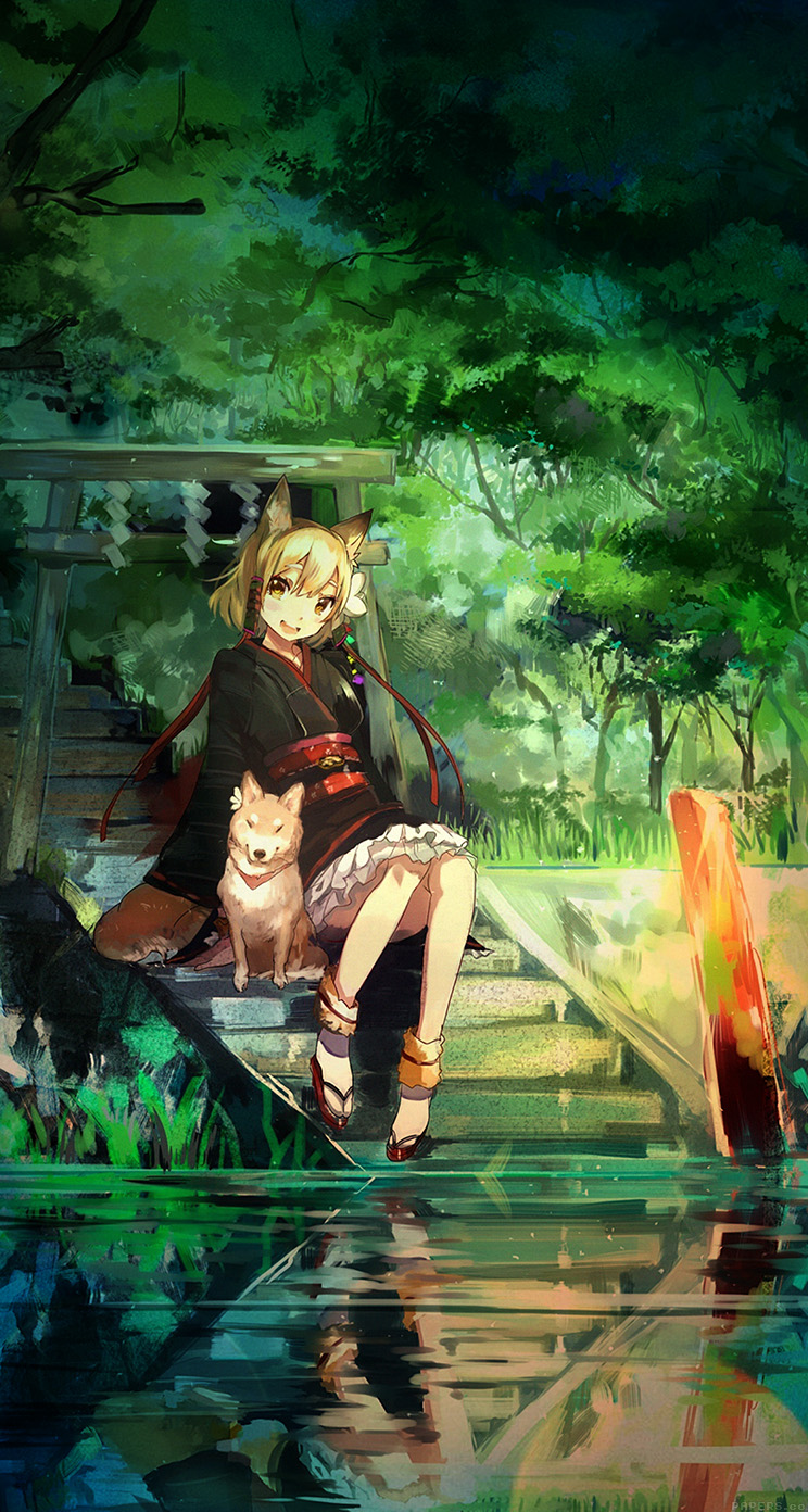 anime girl paint dog whatsapp chat theme