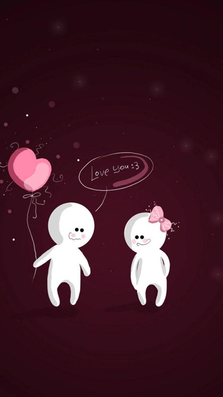 iPhone 7 cartoon heart love wallpaper
