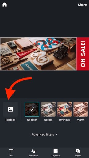 Add new image to Canva app