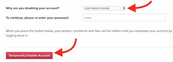 Step 4 - Disable Instagram Account