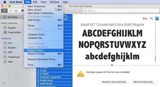 Export Font