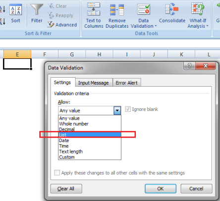 how to create a drop down list in excel 2010