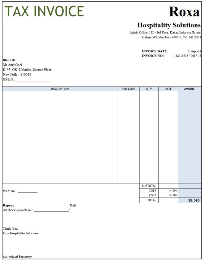 invoice template xls with gst gst invoice format in excel word pdf and jpeg