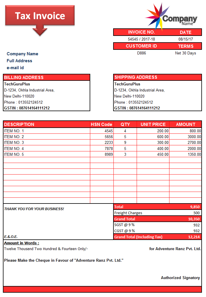 invoice bill format