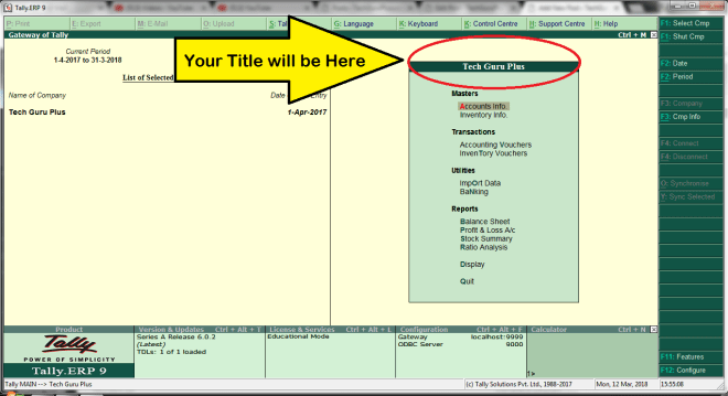 """tally tdl sample codes, how to create tdl file for tally, tally tdl tutorial pdf, tally tdl source code, tally tdl programming tutorial, tally tdl files for gst, free tdl for excel to tally, tally barcode tdl download, Tally """"Gateway of Tally"""" Title Replace TDL for Tally ERP 9,"""