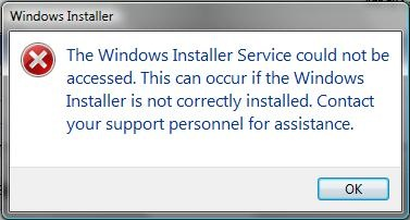 Windows Installer Error Message