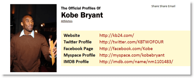 Find Kobe Bryant's Official Social Networking Profile Using TheOfficialProfileof.com
