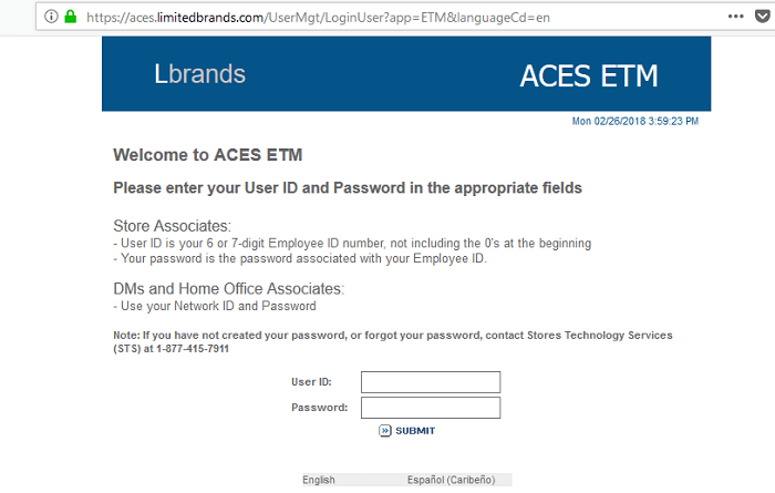 ACES ETM Employee Login