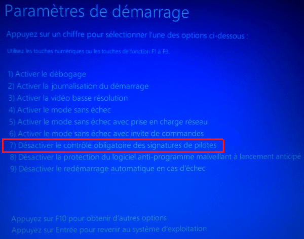 Parametres de demarrage Windows 10