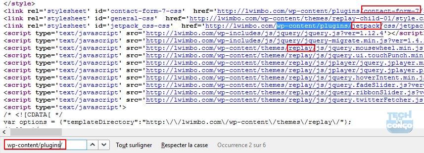 Code source de la page pour trouver les plugins