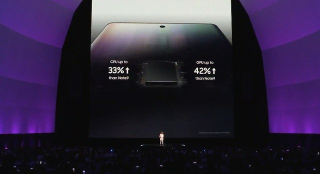 Фотография с Galaxy Unpacked о производительности Galaxy Note 10 и Galaxy Note 10+