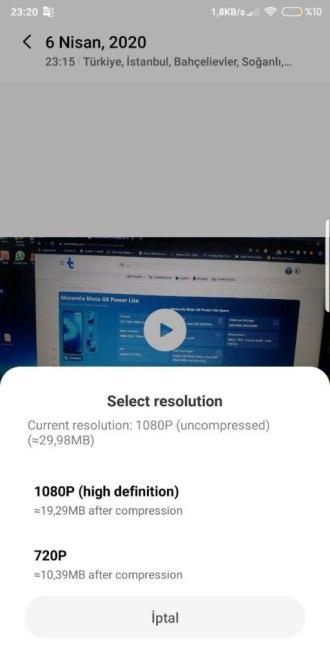 """Возможность сжать видео с 1080p до 720p или 1080p(высокое сжатие) в приложении """"Галерея"""" MIUI 12"""