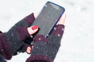Phone out on a cold weather