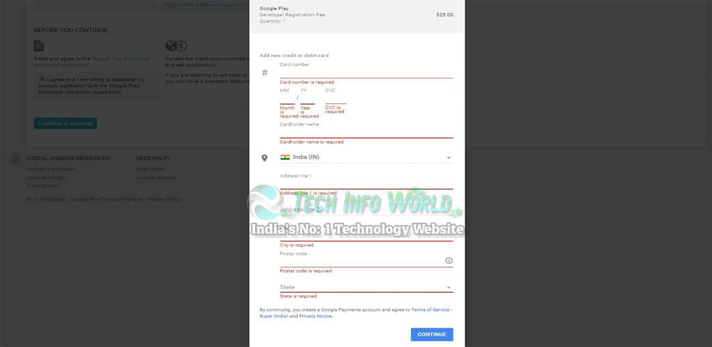 Google Play Developer Console Account Payment
