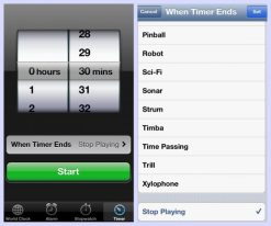 iPhone timer to stop play audios