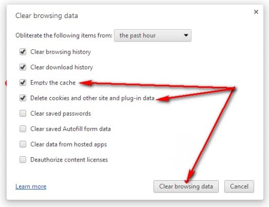 Clear the Browser Cookies & Cache