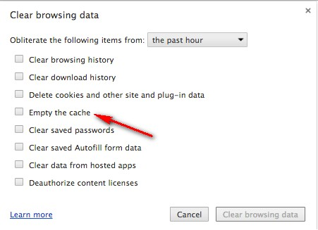 Clear your Google Chrome Browser Caches