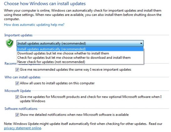 Enable or Disable the Automatic Updates options