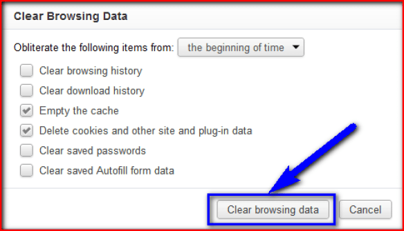 Clear your Browsing Data cookies and cache