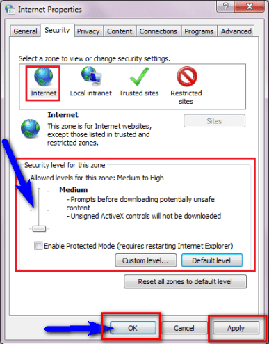 Change your Internet Security & Privacy Levels