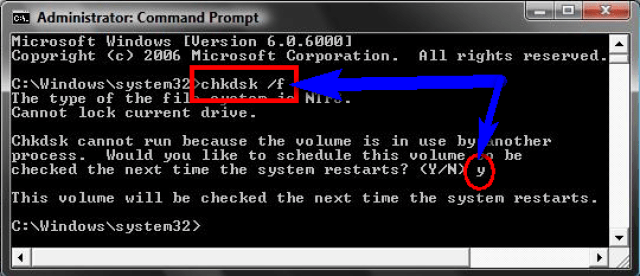 Run CHKDSK /F to check Hard Disk Corruption