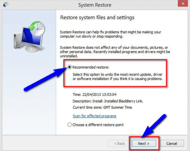 Fix System Restore Features The Application was Unable to Start Correctly