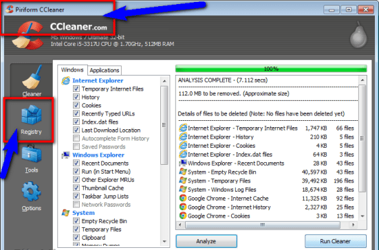 Fix by Cleaning the Registry from Ccleaner