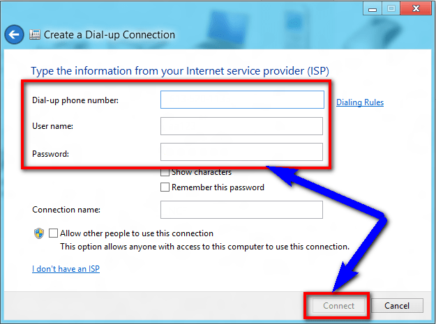 Recreating Dial-Up Connection