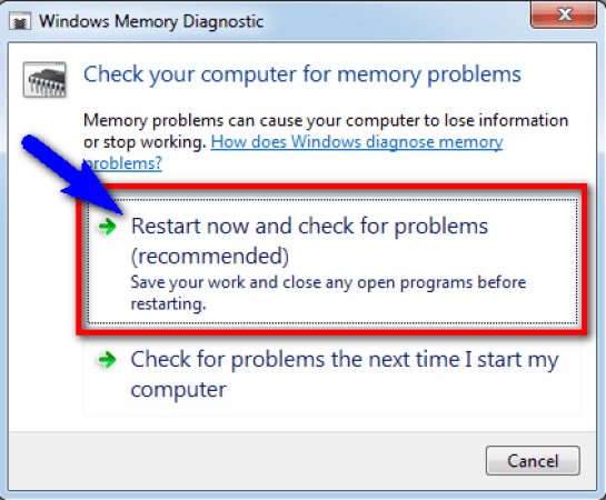Run Windows Memory Diagnostic to check for system's memory
