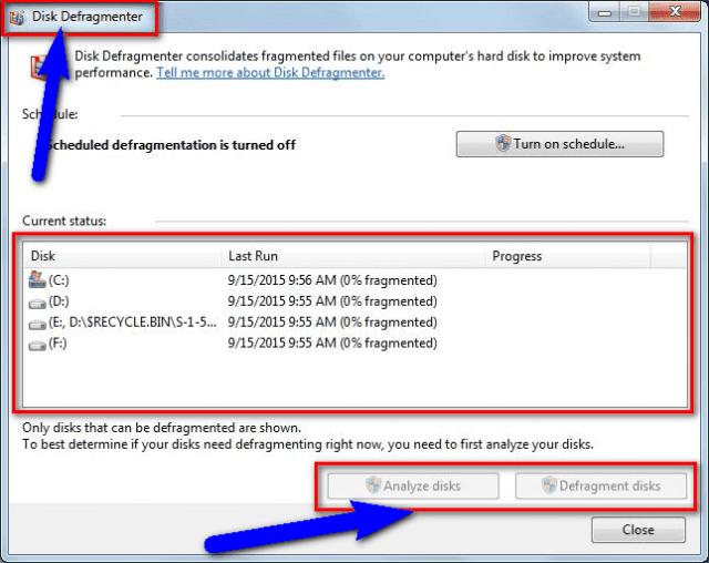 Run a Disk Defragmentation or Backup Utilities