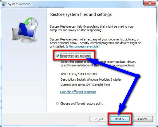 Undo recent System changes by System Restore