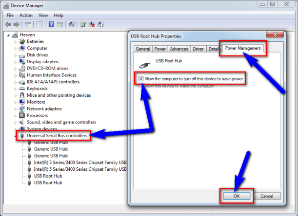 Deselect the USB selective suspend settings