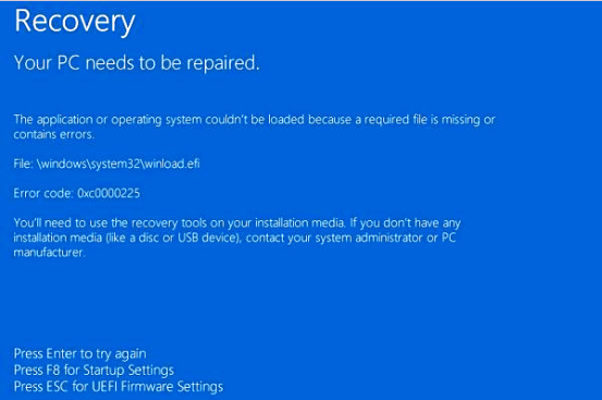 Error Code 0xc0000225