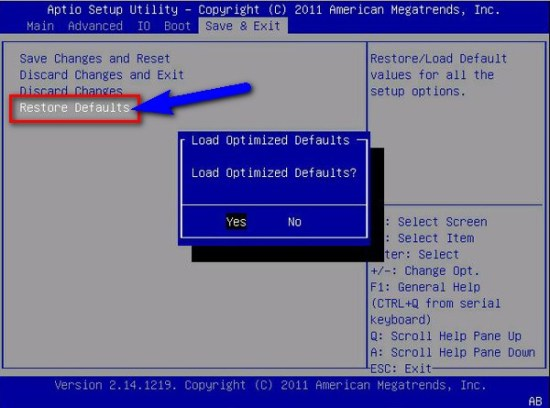 Restore BIOS Default