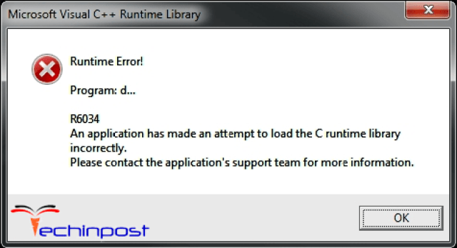 Runtime Error r6034