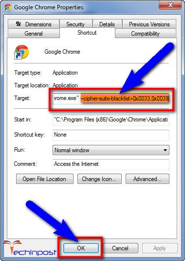 For Google Chrome Browser --cipher-suite-blacklist=0x0039,0x0033