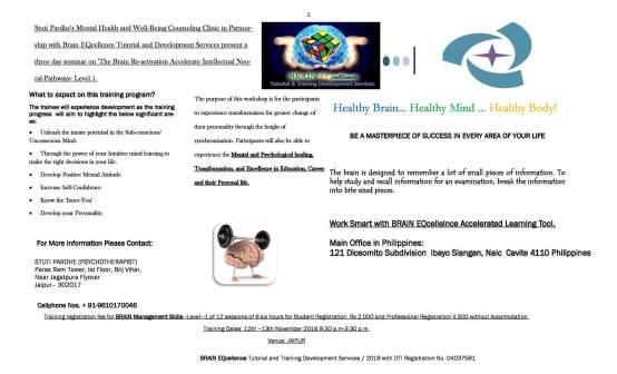 Professional Transformational Seminar on Brain Management Training