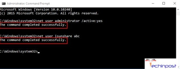 "By net user administrator /active""yes Command in CMD (Command Prompt)"