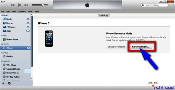 By using the Recovery Mode in iTunes