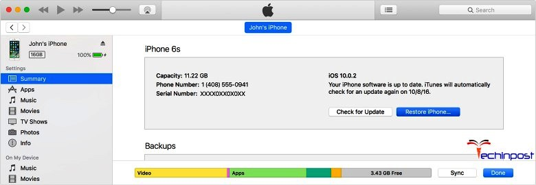 Erase your iPhone Device with iTunes