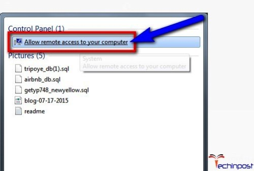 Search for 'Allow remote access to your computer' there & open it