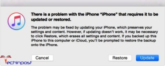 When you see the option to restore or update, Choose 'Restore' there