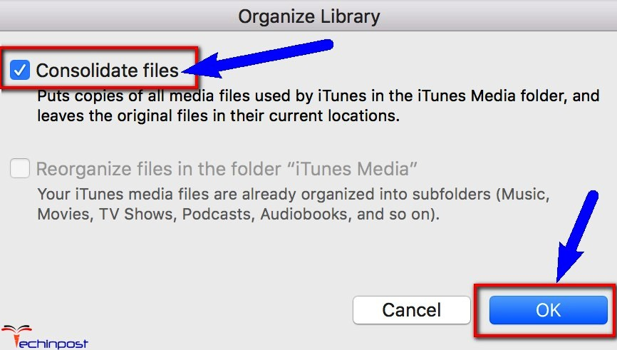 Consolidating itunes library error