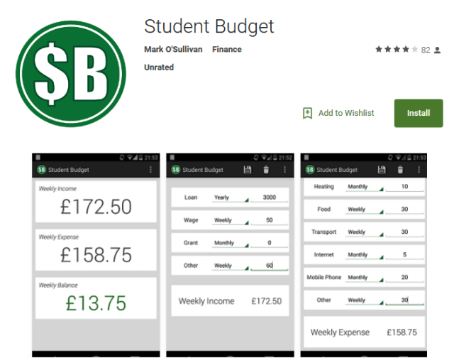 Android Apps for Students Student Budget