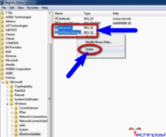 Delete the WUServer & WIStatusServer Keys from Registry Editor
