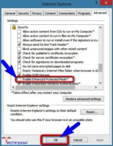 Disable the Enhanced Protected Mode from Internet Explorer
